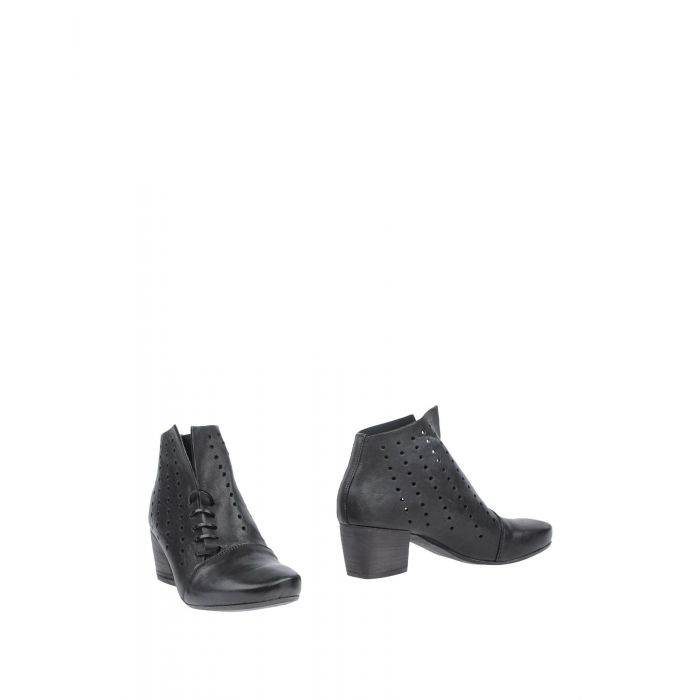 Image for Black leather perforated ankle boots
