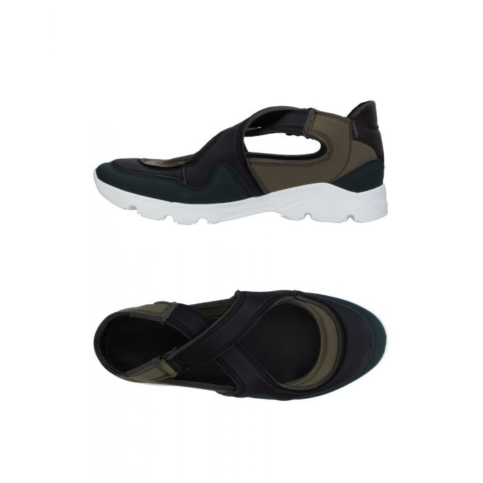 Image for Black leather low-top trainers