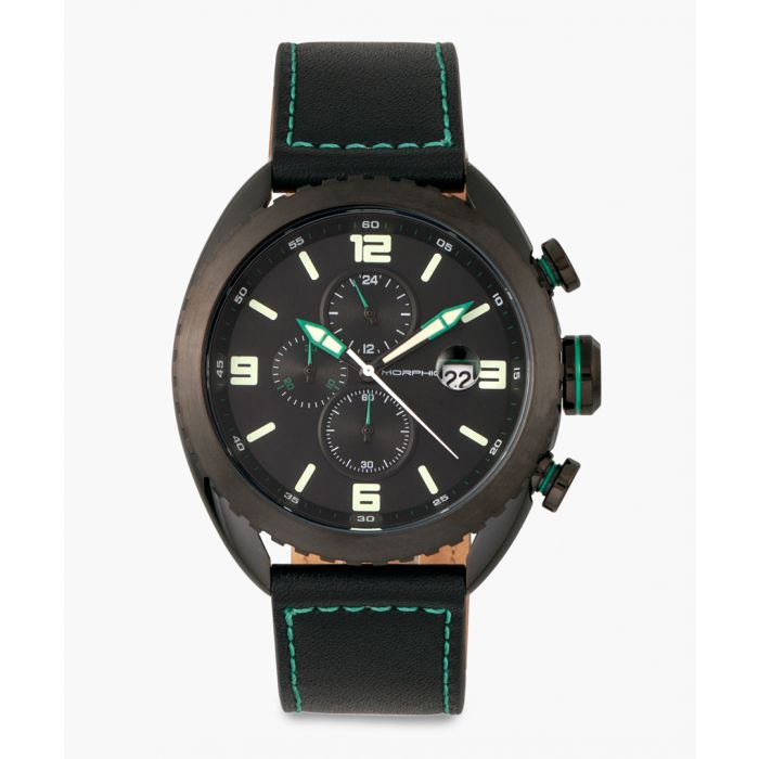 Image for M64 Series leather and stainless steel chronograph watch