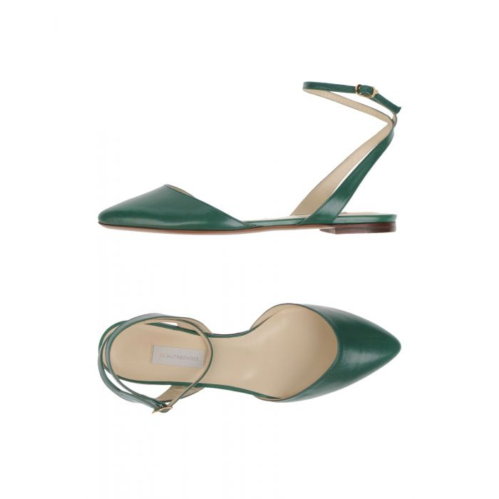 Image for Green leather ballet flats
