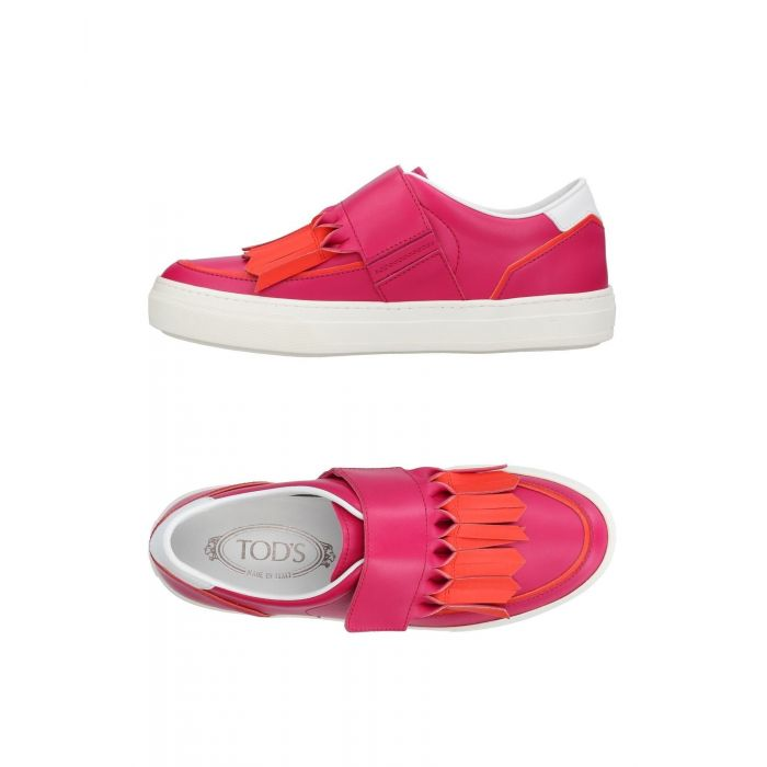 Image for Fuchsia leather low-top trainers