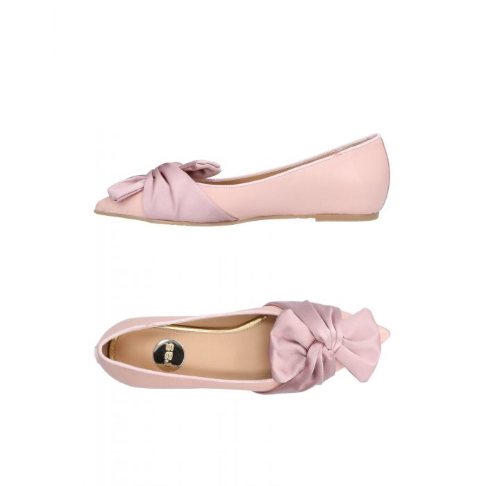 Image for Pink leather ballet flats