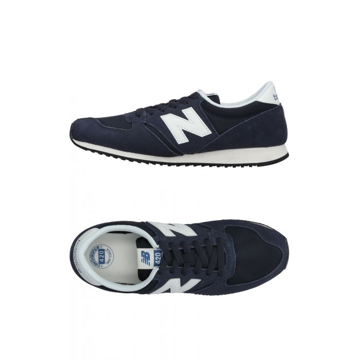 Image for Dark blue leather low-top trainers