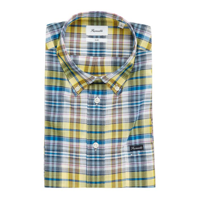 Image for Club yellow & blue button-down shirt