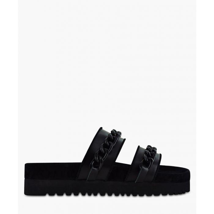 Image for Iva I black leather double strap sliders