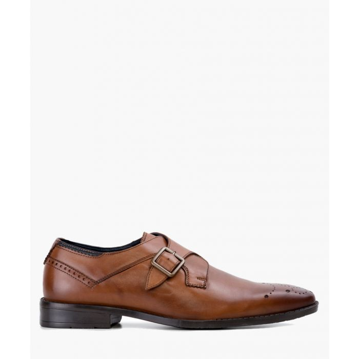 Image for Tan leather monk strap shoes