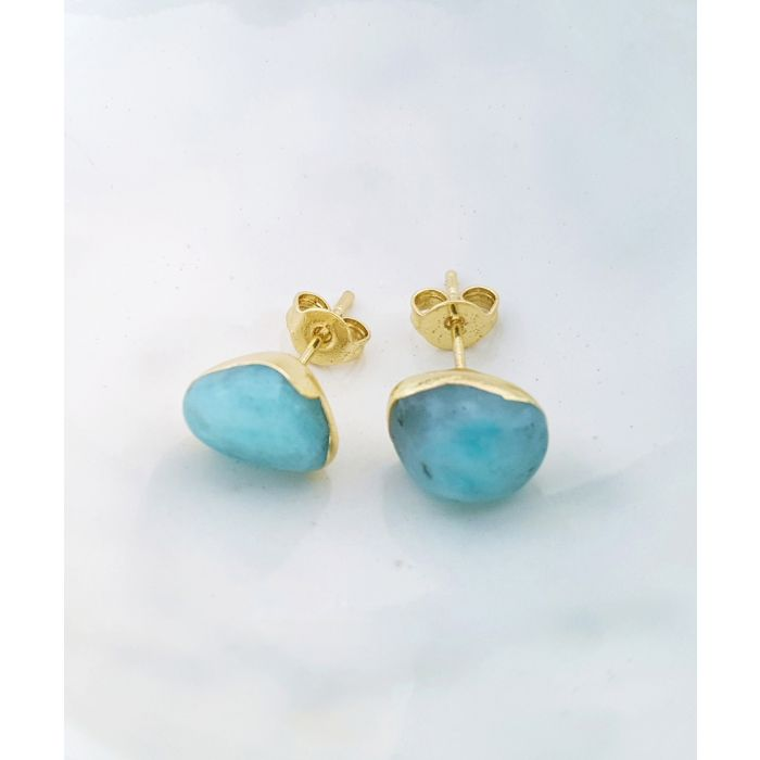 Image for 18k gold-plated and larimar earrings