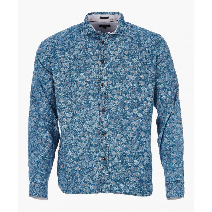 Image for Peres indigo pure cotton printed shirt