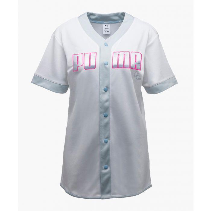 Image for White logo print baseball shirt