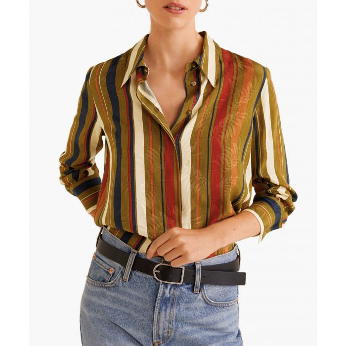 Image for Green striped textured shirt