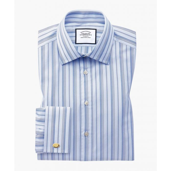 Image for Sky blue Egyptian cotton stripe slim fit shirt