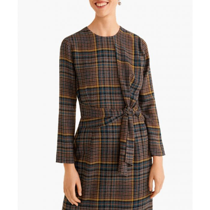 Image for Brown check bow dress