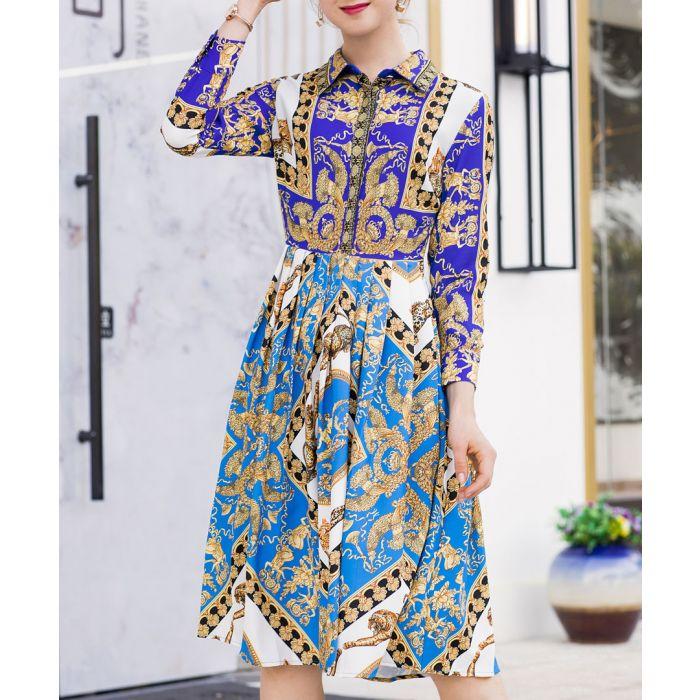 Image for Blue & purple brocade collar dress