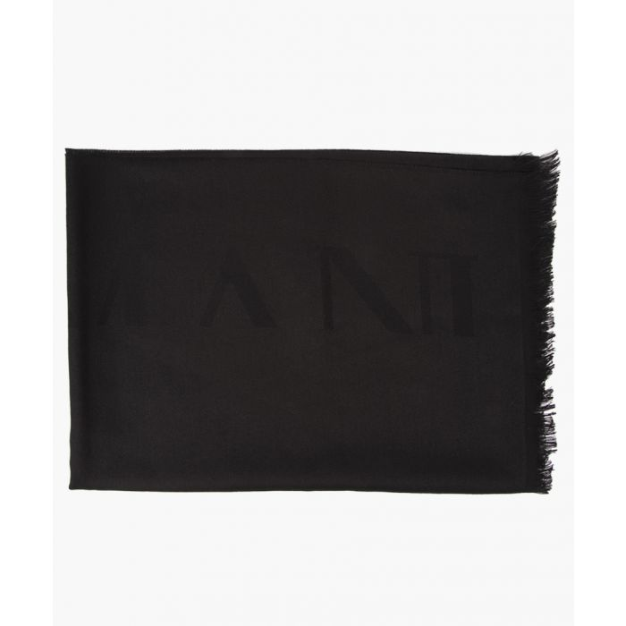 Image for Black wool fringed scarf