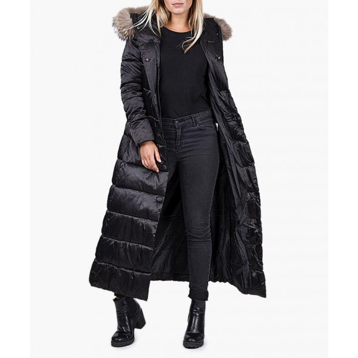 Image for Black faux fur belted puffer jacket