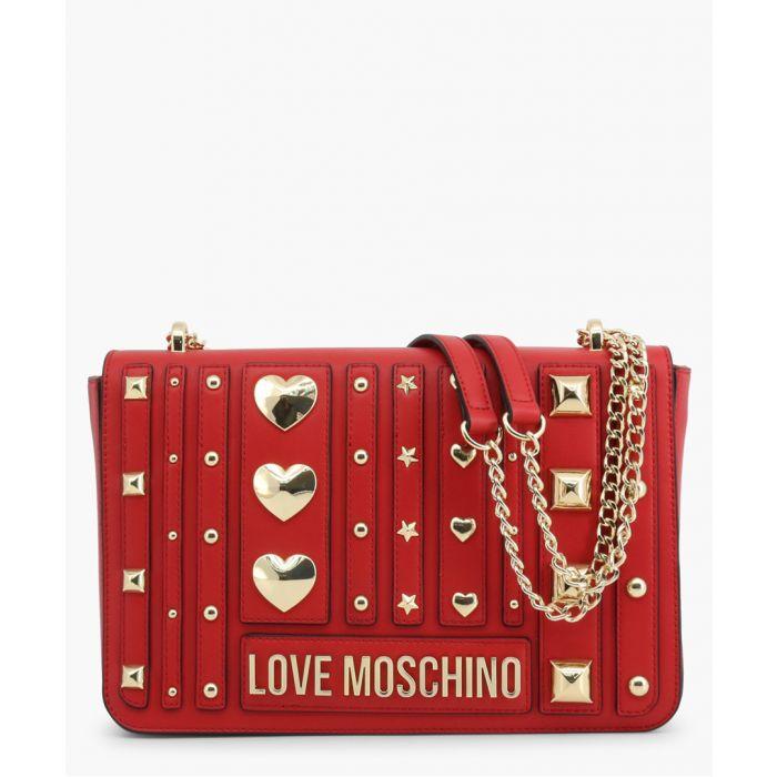 Image for Red faux-leather shoulder bag