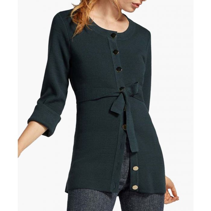 Image for harding dark teal waist-tie cardigan