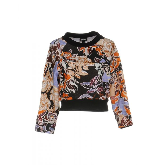 Image for Steel grey cotton blend floral cropped sleeve sweatshirt