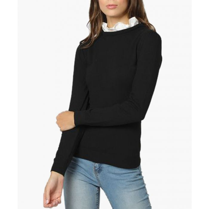 Image for Black and white cashmere and silk blend jumper