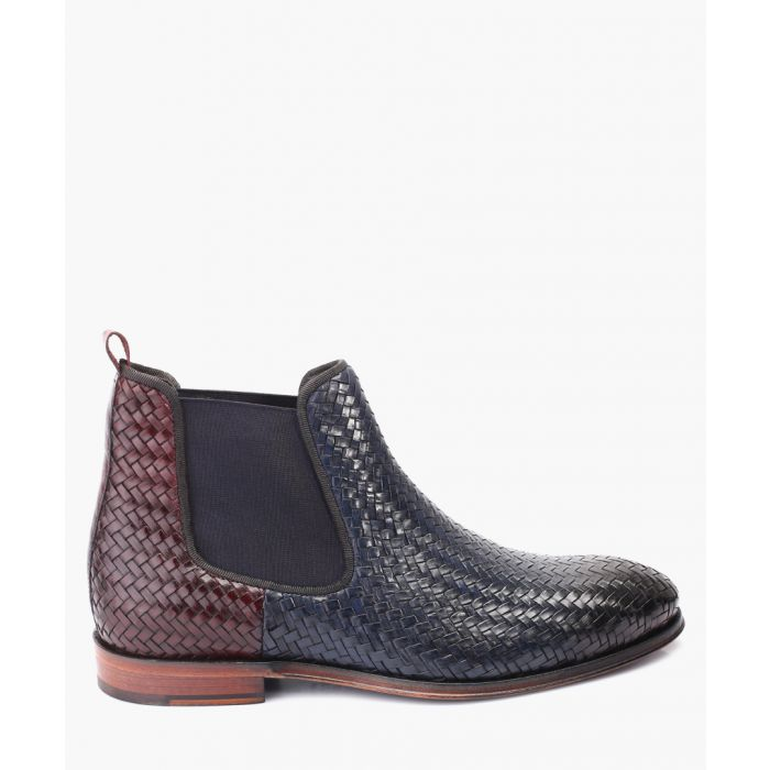 Image for Navy and chocolate leather woven Chelsea boots