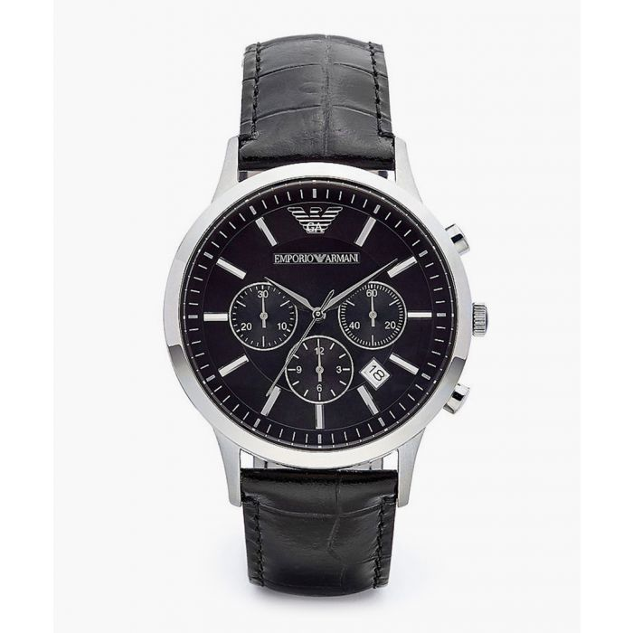 Image for Black stainless steel and leather watch