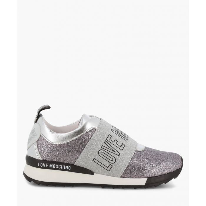 Image for Silver faux-leather trainers