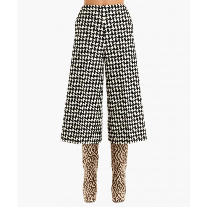Image for Houndstooth wool-cotton blend culottes
