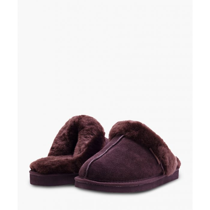 Image for Brown suede sheepskin slippers