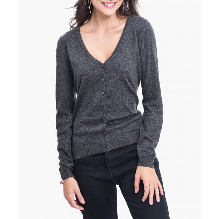 Image for Grey cashmere and silk blend cardigan