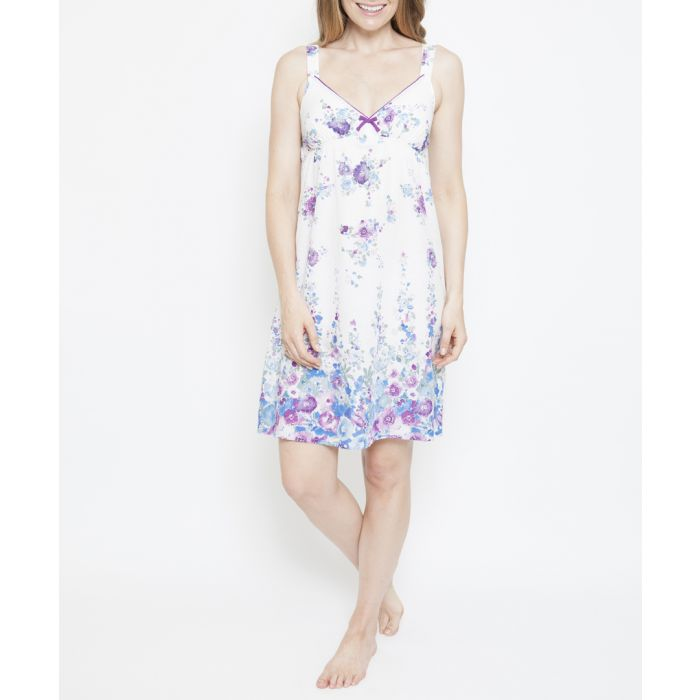Image for Andrea white floral printed chemise