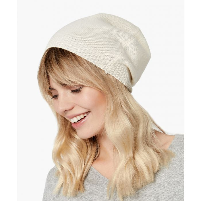 Image for White pure cashmere hat