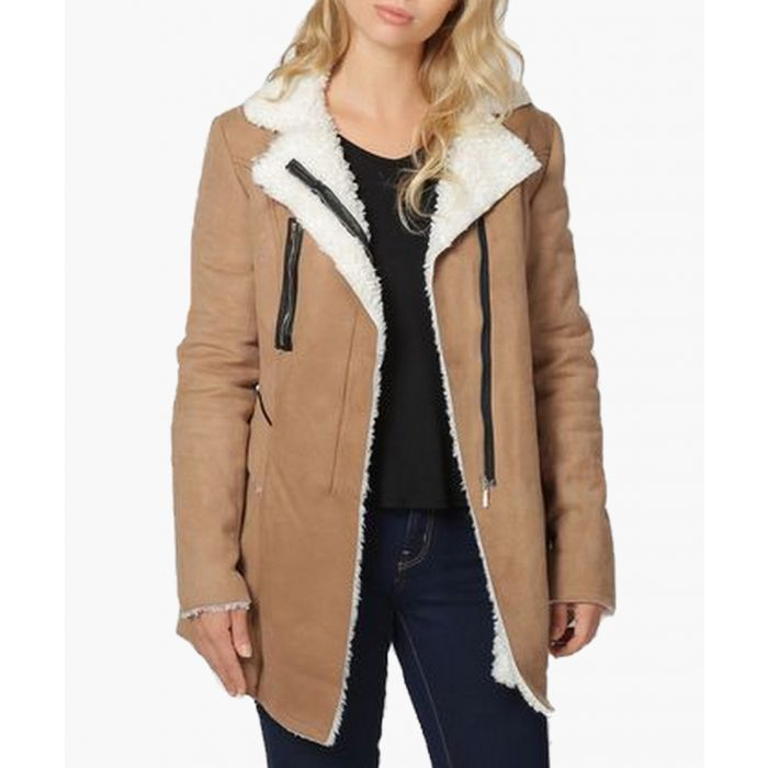 Image for Inês camel faux shearling zipped jacket