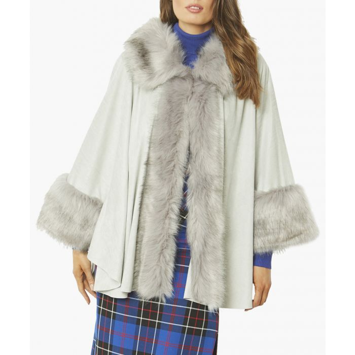 Image for Grey faux suede and faux fur trimmed coat