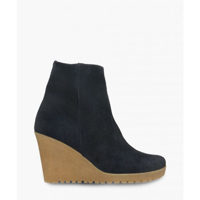 Image for Navy blue leather wedge heels boots