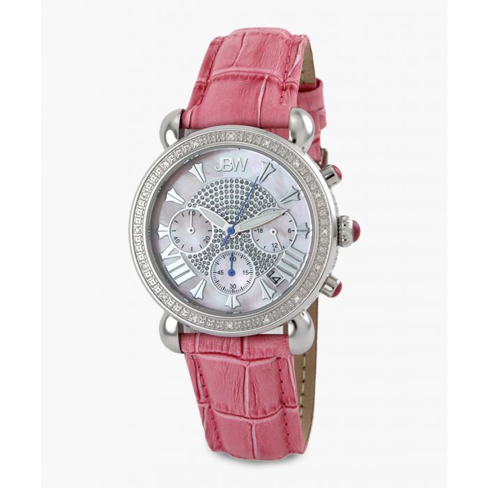Image for Victory pink leather moc-croc watch