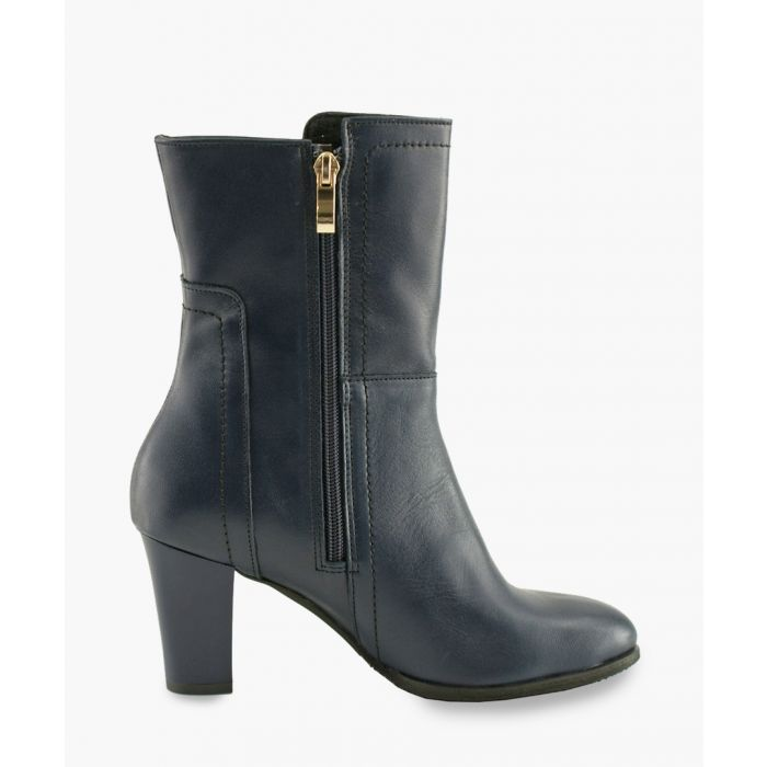 Image for Dark blue leather zip up ankle boots