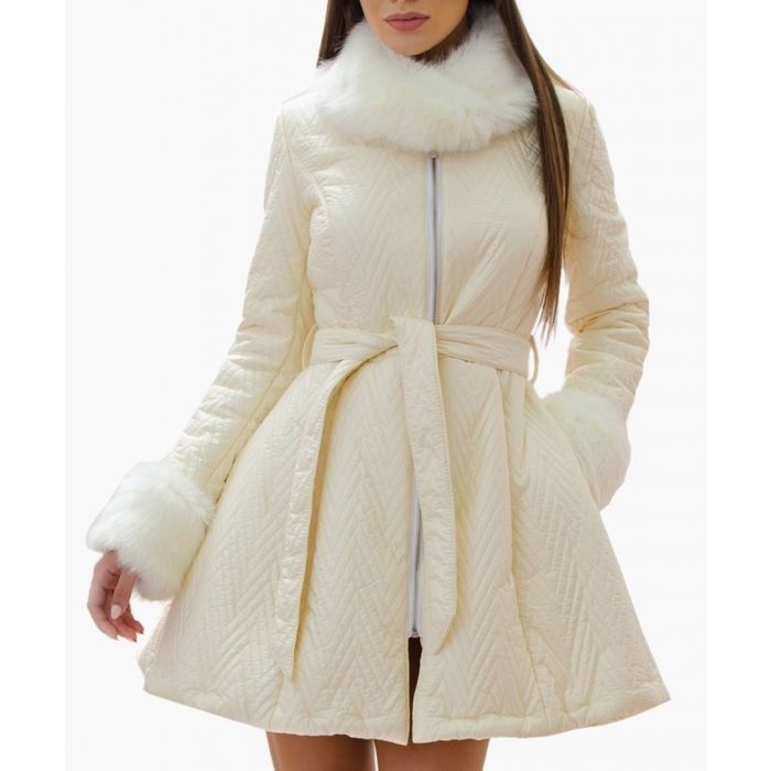 Image for White Belted Cuff & Collar Coat