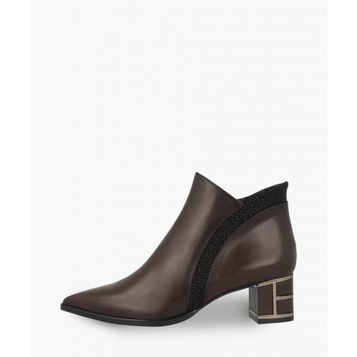 Image for Brown leather stripe ankle boots