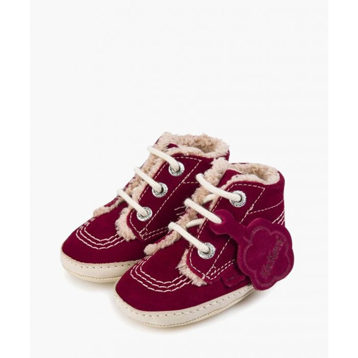 Image for Kids burgundy suede lace-up boots