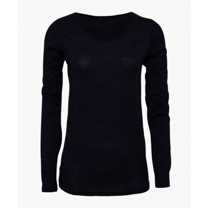 Image for Black bamboo viscose and organic wool blend long sleeve T-shirt