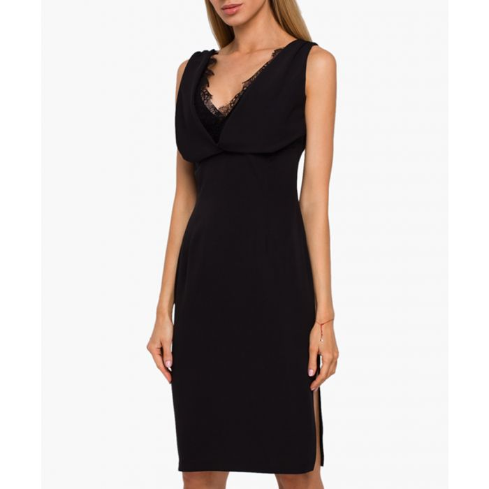 Image for Black lace trim V-neck fitted dress