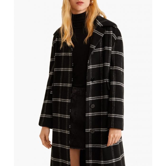 Image for Black wool-blend checked coat