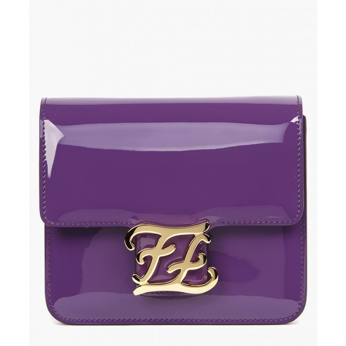Image for Karlygraphy violet patent leather shoulder bag