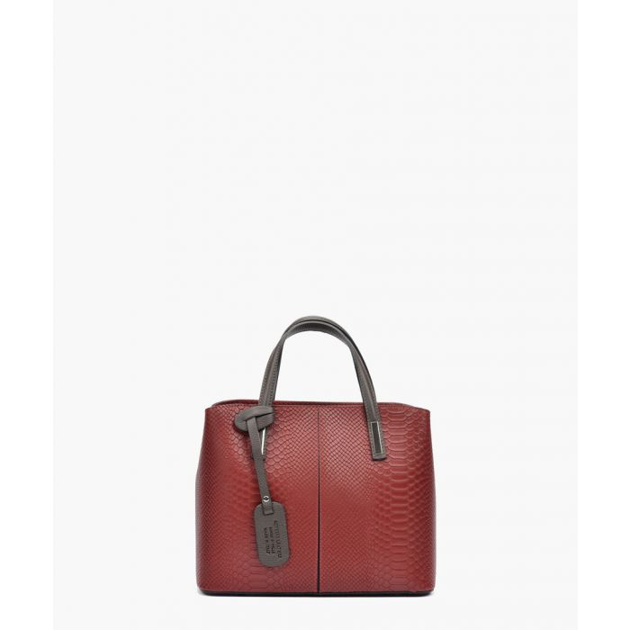 Image for Red leather top handle bag