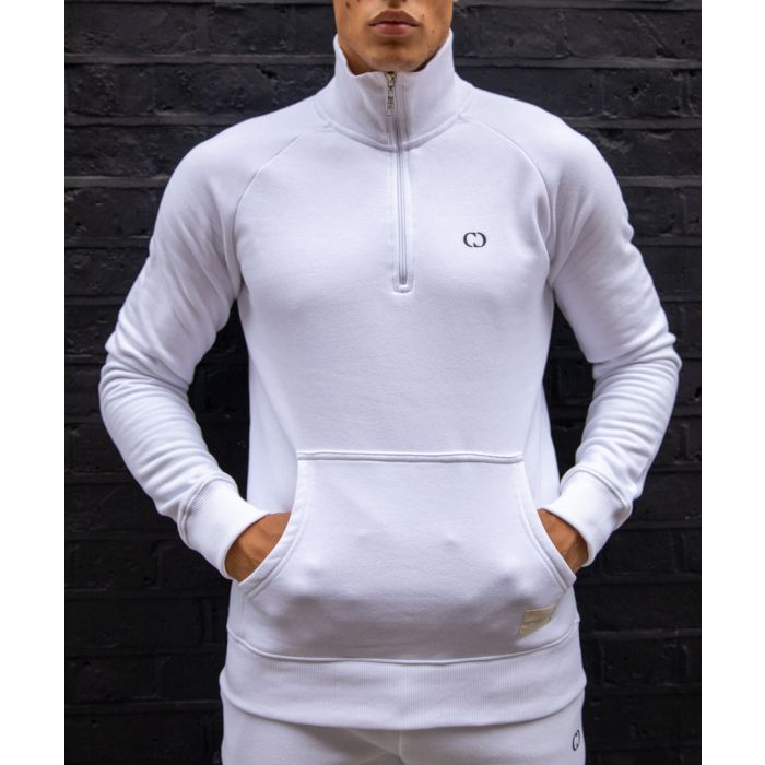 Image for White cotton blend semi-zip top