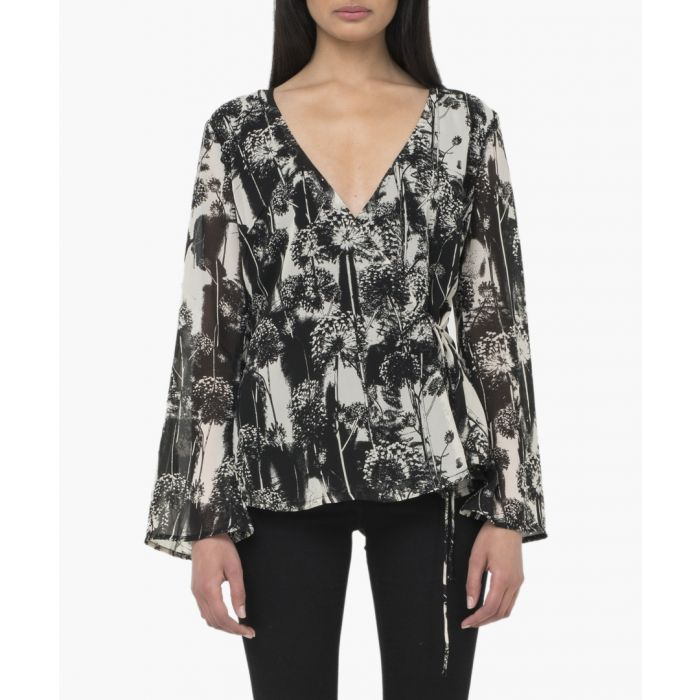 Image for Black and white print v-neck blouse
