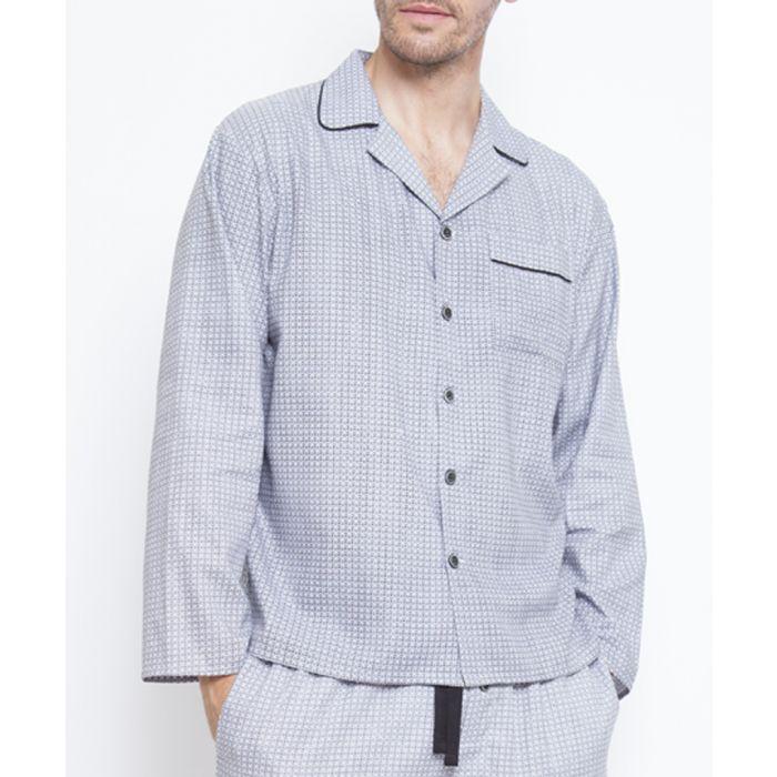 Image for Aspen grey cotton-blend micro print pyjama top