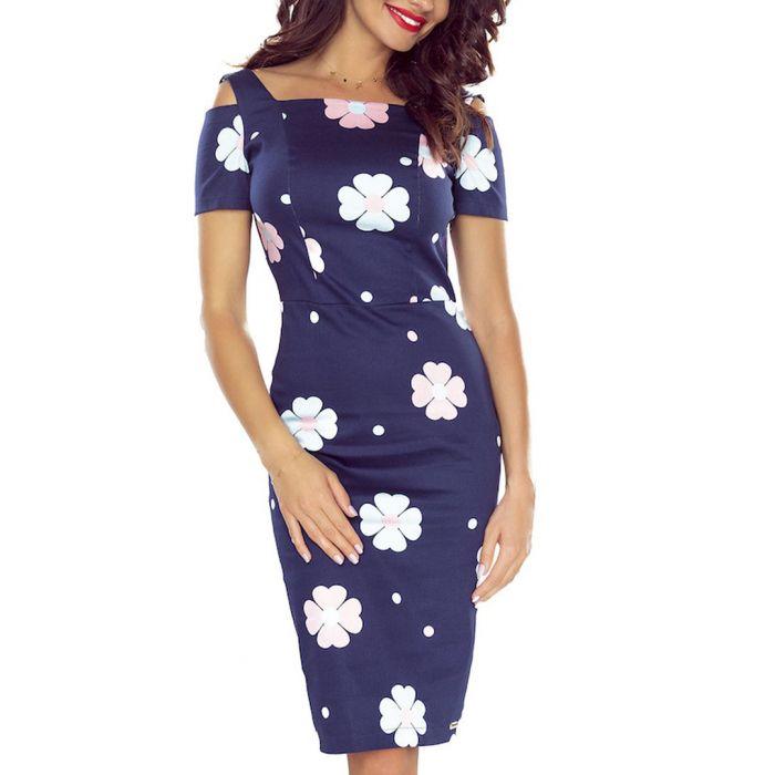 Image for Navy cold-shoulder floral midi dress