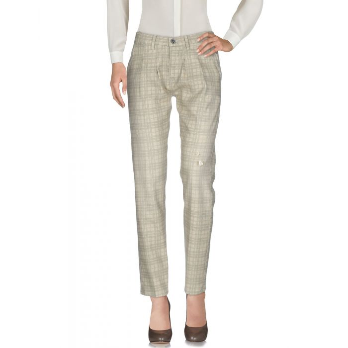 Image for Beige tartan print stretch-cotton flannel trousers