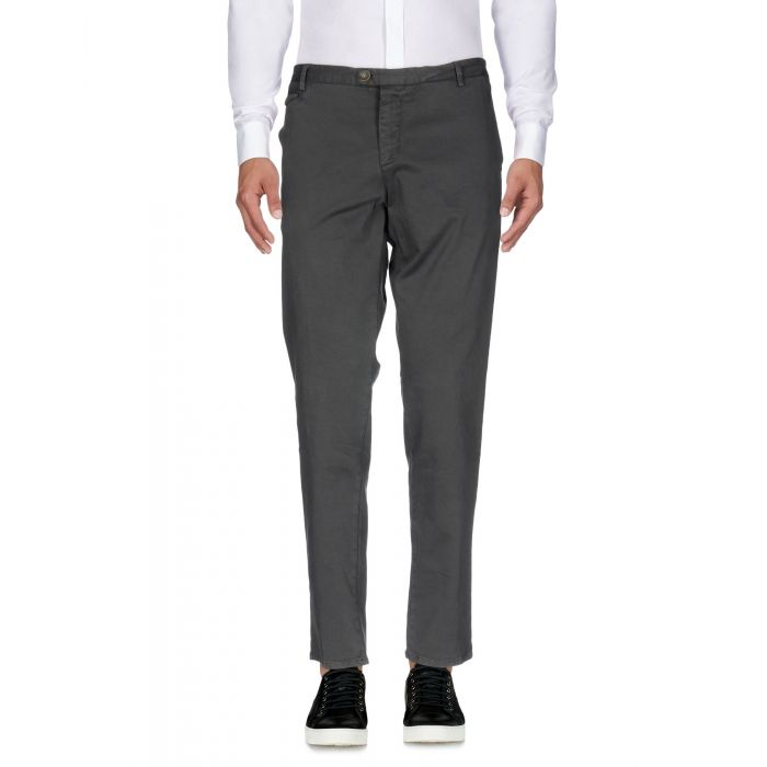 Image for Grey cotton mid-rise slim fit trousers